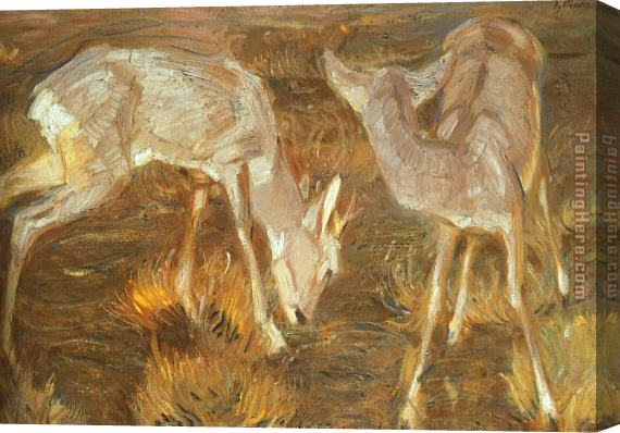 Franz Marc Deer at Dusk Stretched Canvas Painting