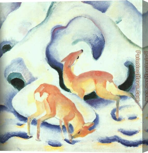 Franz Marc Deer in the Snow Stretched Canvas Painting