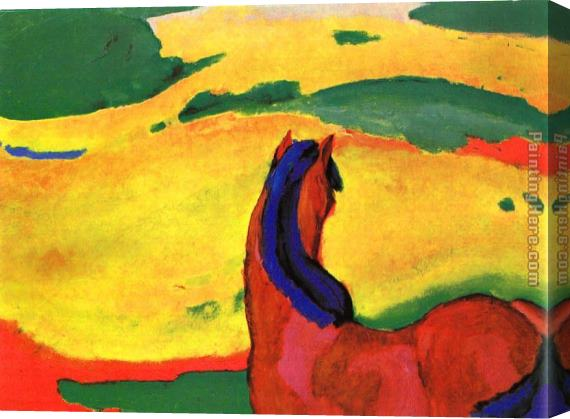 Franz Marc Horse in a Landscape Stretched Canvas Painting