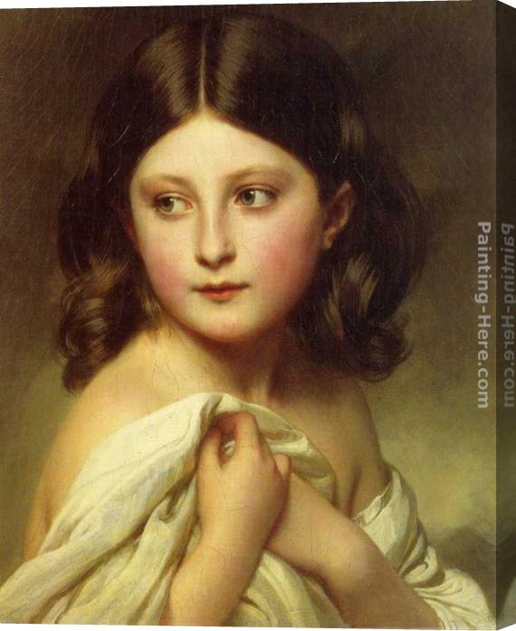 Franz Xavier Winterhalter A Young Girl called Princess Charlotte Stretched Canvas Painting