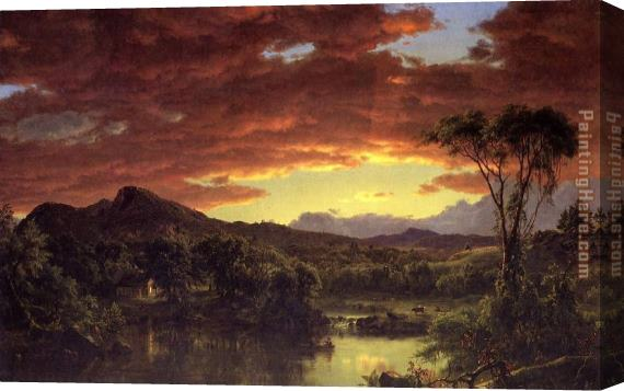 Frederic Edwin Church A Country Home Stretched Canvas Painting