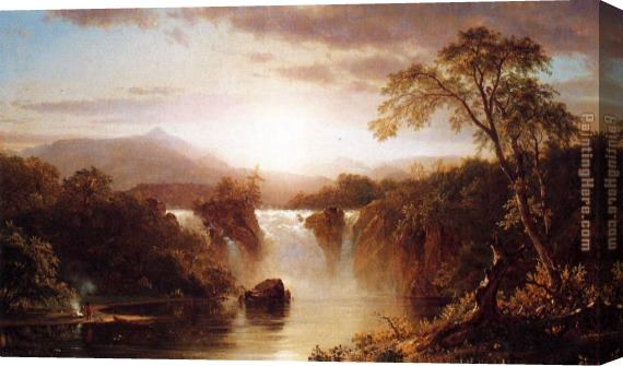 Frederic Edwin Church Landscape with Waterfall Stretched Canvas Painting