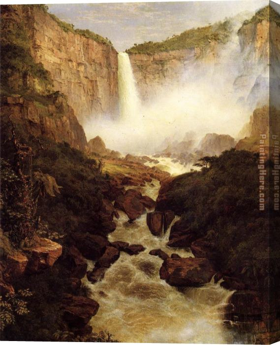 Frederic Edwin Church Tequendama Falls, near Bogota, New Granada Stretched Canvas Painting