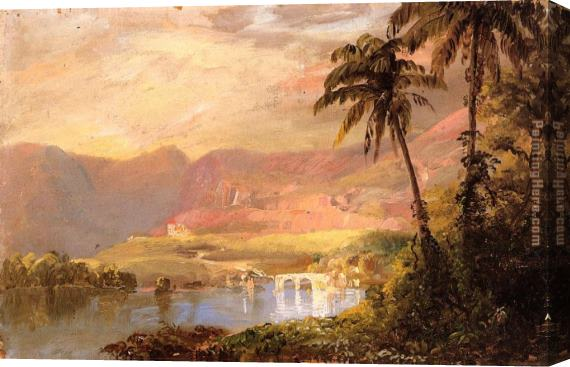 Frederic Edwin Church Tropical Landscape Stretched Canvas Painting