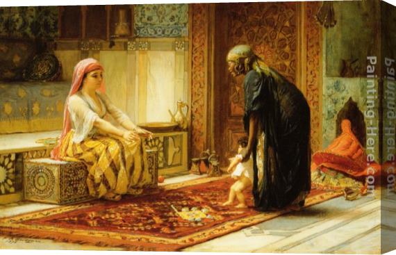 Frederick Arthur Bridgman The First Steps Stretched Canvas Painting