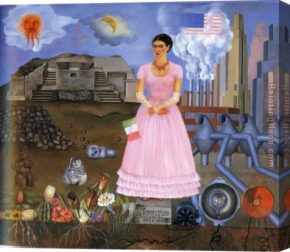 Frida Kahlo FridaKahlo-Self-Portrait-on-the-Border-Line-Between-Mexico-and-the-United-States-1932 Stretched Canvas Painting