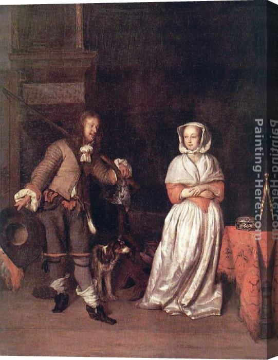 Gabriel Metsu The Hunter's Gift Stretched Canvas Painting