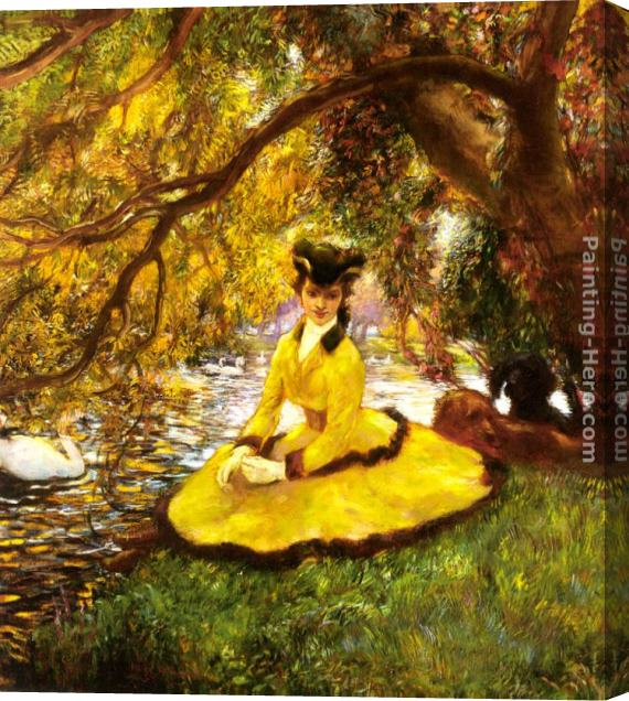 Gaston La Touche At the Riverbank Stretched Canvas Painting