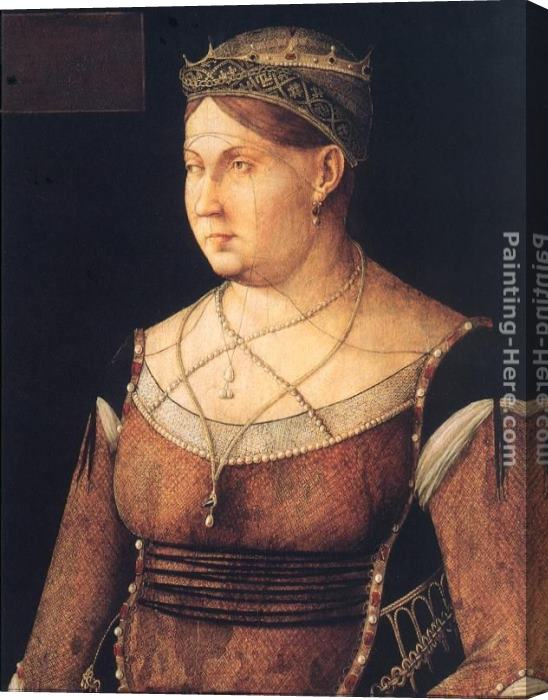 Gentile Bellini Portrait of Catharina Cornaro, Queen of Cyprus Stretched Canvas Painting