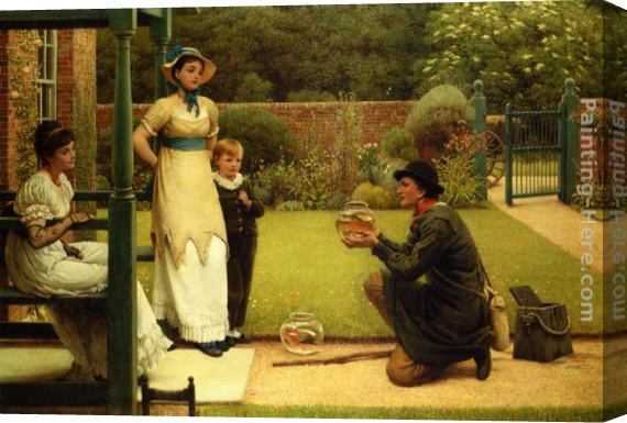 George Dunlop, R.A., Leslie The Goldfish Seller Stretched Canvas Painting