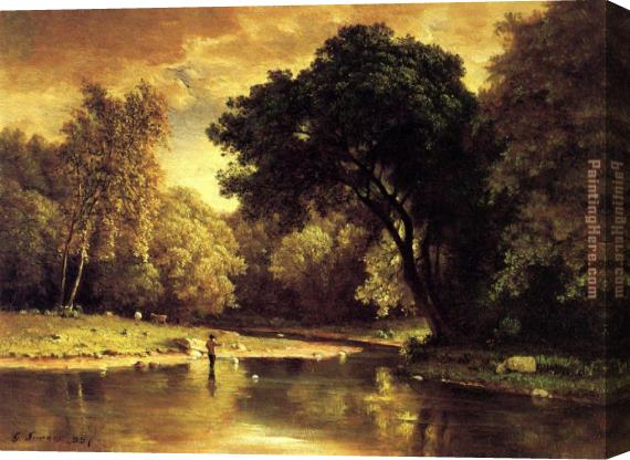 George Inness Fisherman in a Stream Stretched Canvas Painting