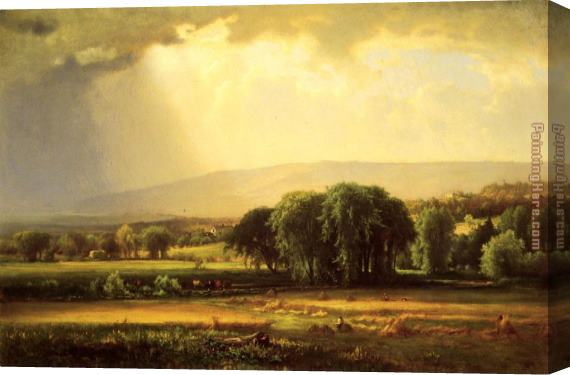 George Inness Harvest Scene in the Delaware Valley Stretched Canvas Painting