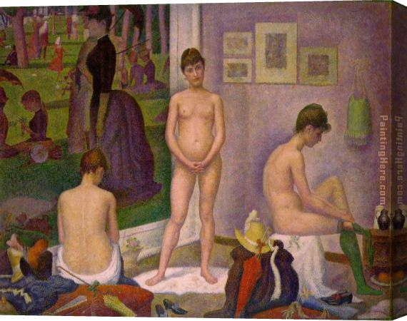 Georges Seurat The Models Stretched Canvas Painting