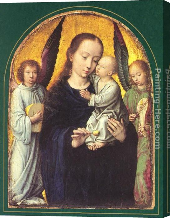Gerard David Mary and Child with two Angels Making Music Stretched Canvas Painting