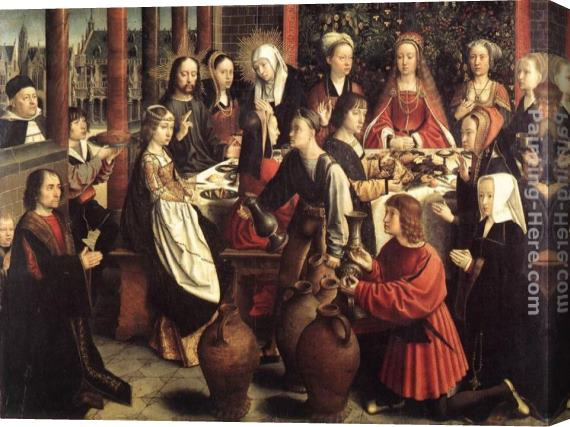 Gerard David The Marriage at Cana Stretched Canvas Painting