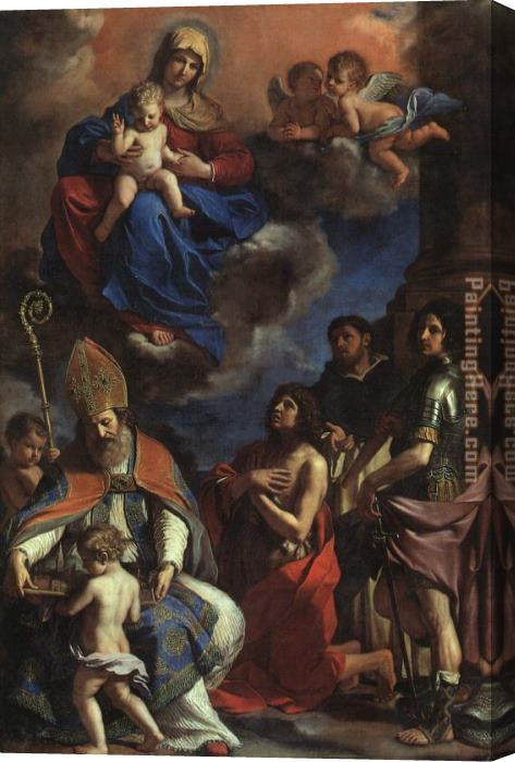 Guercino The Patron Saints of Modena Stretched Canvas Painting