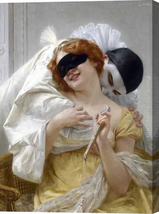 Guillaume Seignac Pierrot's Embrace Stretched Canvas Painting