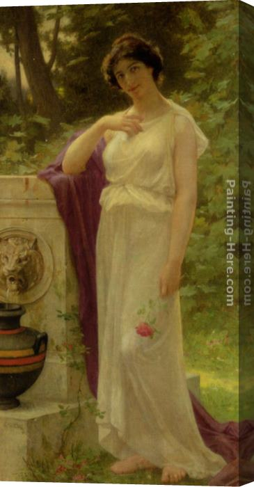 Guillaume Seignac Young Woman with a Rose Stretched Canvas Painting