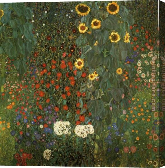 Gustav Klimt Country Garden with Sunflowers Stretched Canvas Painting