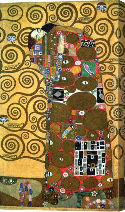 Gustav Klimt Fulfillmentone Of The Kiss Panels Stretched Canvas