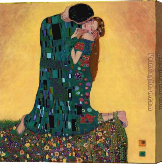 Gustav Klimt Kiss Ii Stretched Canvas Painting For Sale
