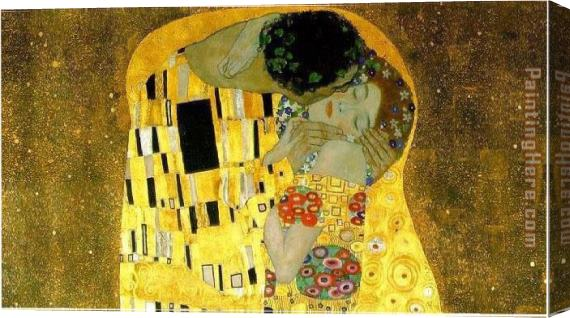 Gustav Klimt The Kiss Cropped Stretched Canvas Painting For Sale