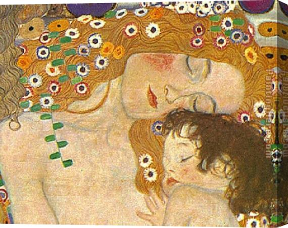Gustav Klimt Three Ages of Woman - Mother and Child (Detail) Stretched Canvas Painting