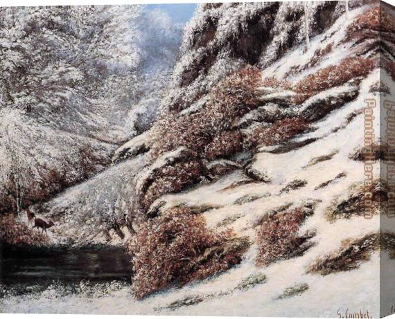 Gustave Courbet Deer in a Snowy Landscape Stretched Canvas Painting