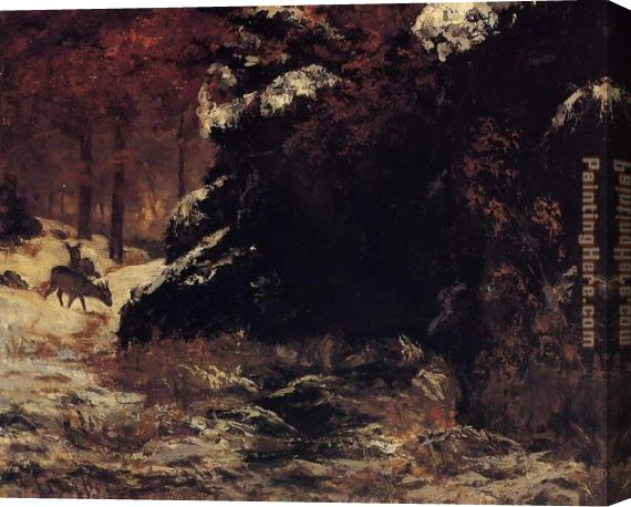 Gustave Courbet Deer in the Snow Stretched Canvas Painting