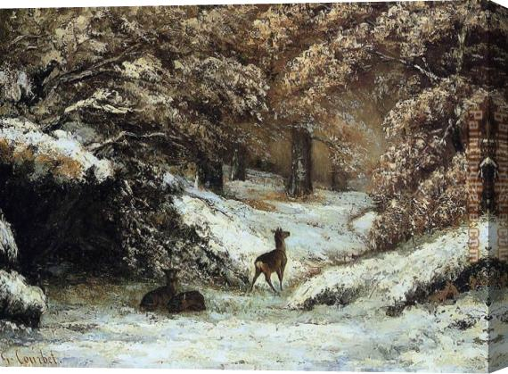 Gustave Courbet Deer Taking Shelter in Winter Stretched Canvas Painting