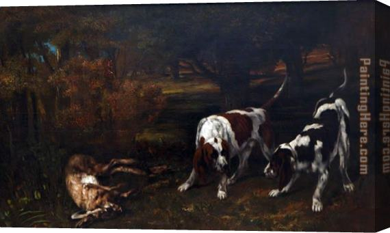 Gustave Courbet Hunting Dogs Stretched Canvas Painting