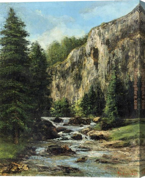 Gustave Courbet Study for 'Landscape with Waterfall Stretched Canvas Painting
