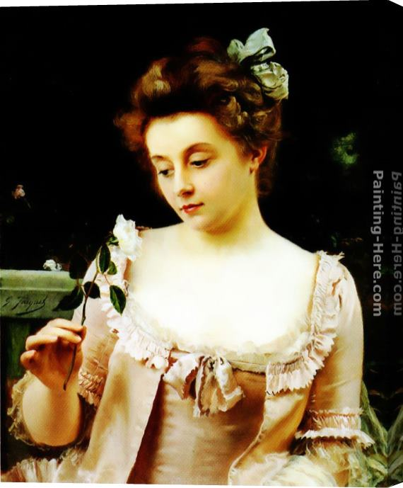 Gustave Jean Jacquet A Rare Beauty Stretched Canvas Painting