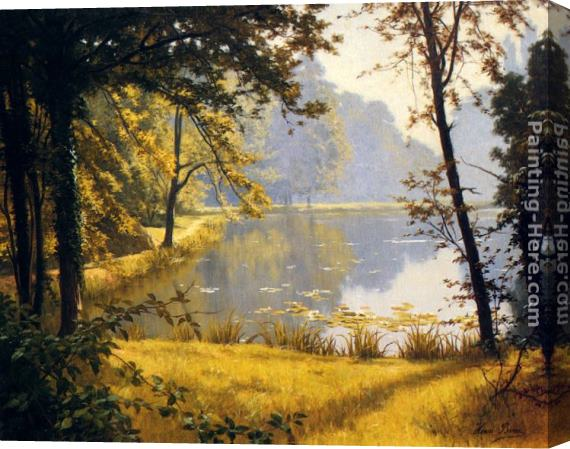 Henri Biva A Lily Pond Stretched Canvas Painting