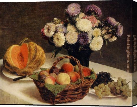 Henri Fantin-Latour Flowers and Fruit a Melon Stretched Canvas Painting