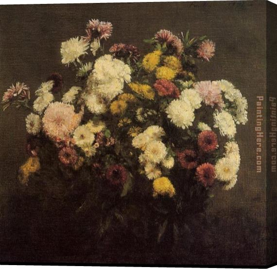 Henri Fantin-Latour Large Bouquet of Crysanthemums Stretched Canvas Painting