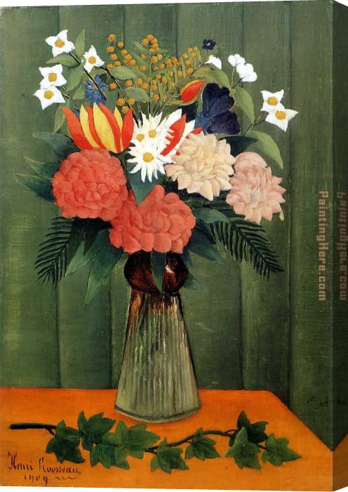 Henri Rousseau Bouquet of Flowers with an Ivy Branch Stretched Canvas Painting