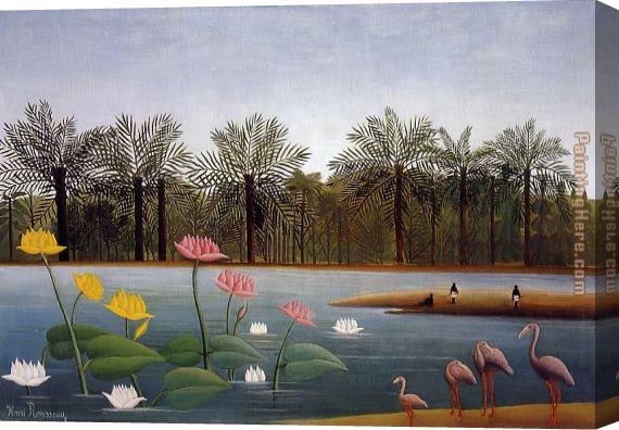 Henri Rousseau The Flamingos Stretched Canvas Painting