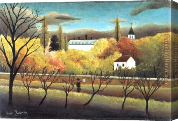 Henri Rousseau The Orchard Stretched Canvas Painting