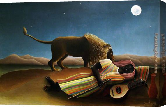 Henri Rousseau The Sleeping Gypsy Stretched Canvas Painting