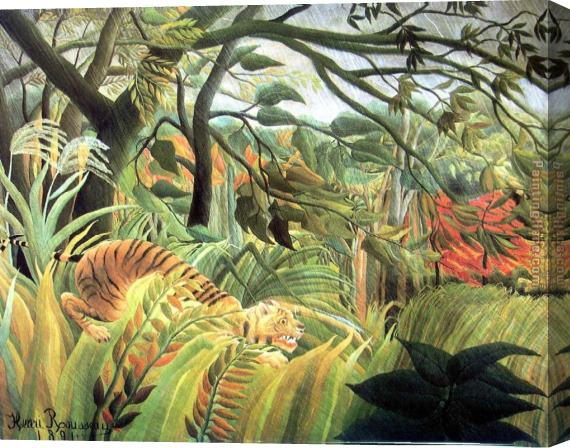 Henri Rousseau tiger in a tropical storm Stretched Canvas Painting