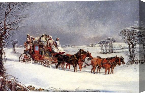 Henry Alken The York to London Royal Mail on the Open Road in Winter Stretched Canvas Painting