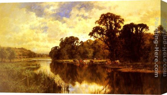 Henry Hillier Parker Cattle Watering on a Riverbank Stretched Canvas Painting