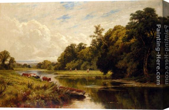Henry Hillier Parker On The Banks Of The Thames Stretched Canvas Painting
