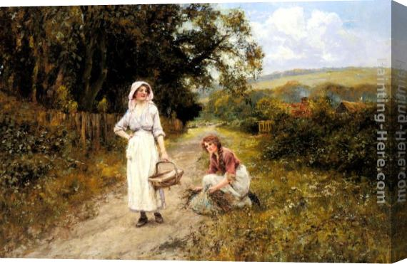 Henry John Yeend King Faggot Gatherers on a Path Stretched Canvas Painting