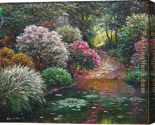 Henry Peeters Garden Pond Stretched Canvas Painting
