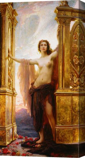 Herbert James Draper the Gates of Dawn Stretched Canvas Painting