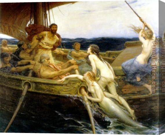Herbert James Draper Ulysses and the Sirens Stretched Canvas Painting