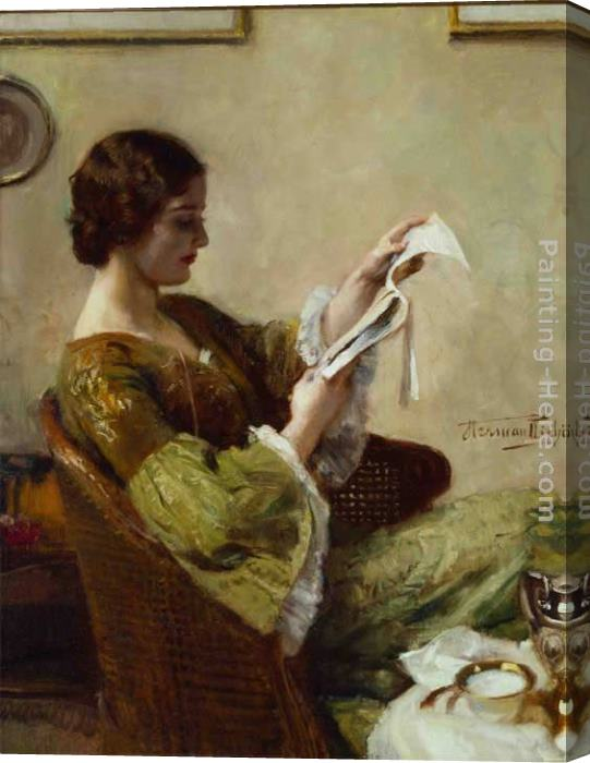 Hermann Jean Joseph Richir Young Woman Reading Stretched Canvas Painting