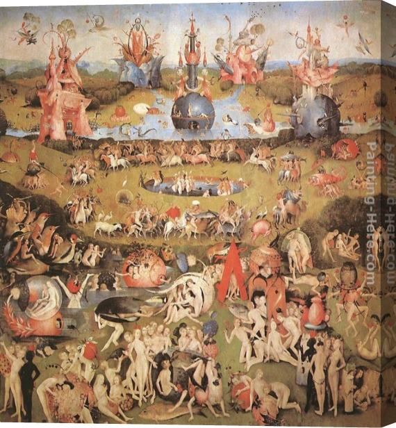 Hieronymus Bosch Garden of Earthly Delights, central panel of the triptych Stretched Canvas Painting